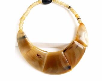 "Statement Necklace Geometric Buffalo Horn necklace ""Anakoana"" collection Taino Art sale Caritative • children in Haiti"