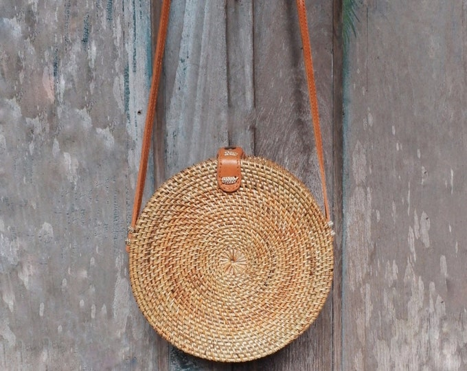 """Featured listing image: RATTAN BAG - NATURAL • bag round rattan """"KnB Nature"""" shoulder leather sale solidarity • • & charity to Haiti"""