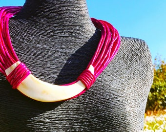 Necklace Tribal MULTISTRAND pink leather & bones of Creation creator of Art • sale solidarity for Haiti • •