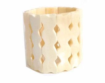 Geometric zig zag bone of Haiti raw • link bracelet stretch •Handmade by Haitian artisans charity • •