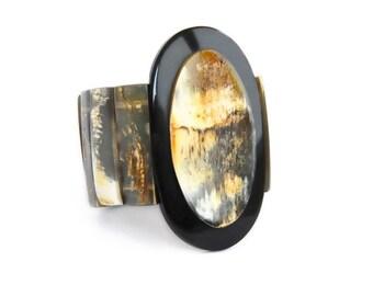 "Geometric bracelet ""Loop"" Horn of Haiti raw • link stretch •Handmade by Haitian artisans charity • •"