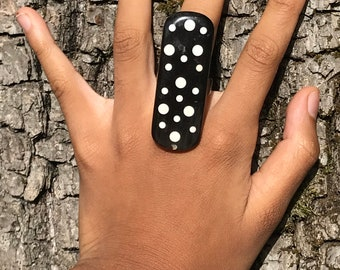 """Polished horn """"chiefs"""" ring with horn from Buffalo black and white Collection sale Haiti • humanitarian • nobility •"""