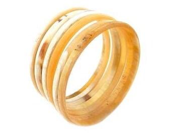Bracelet Semainier Horn white • 7 •creation d'art craftsman batch sales of solidarity for Haiti • •