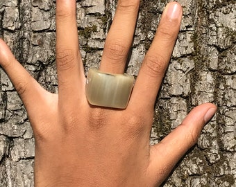 Ring Signet Ring in polished Horn clear Buffalo genuine • nobility • Collection