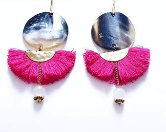 "HORN EARRINGS TASSEL earrings ""Dancer"" •Boucles tassels half moon and gold plated Buffalo Horn • elegance Collection"