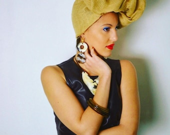 HORN EARRINGS ears •Boucles double hoop Anakaona clasp plated cow horn Gold • Collection Limye • humanitarian sale