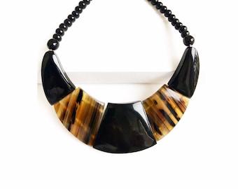 "Statement Necklace Geometric Buffalo Horn necklace bi-color ""Anakoana"" collection Taino Art sale Caritative • children in Haiti"