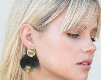 buffalo horn earrings ears •Boucles double horn on brass frame