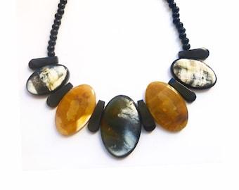 "Necklace ""Kalfou"" Horn Buffalo collection elegance• sale solidarity for Haiti • •"