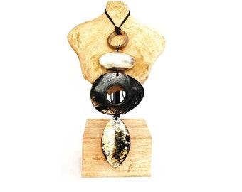 "Collar necklace ""Kalfou"" 4 shapes Horn piled Horn Buffalo collection Limye sale solidarity for Haiti • • •"
