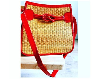 """Handbag leather and fiber natural """"KnB Design Rouge"""" Collection Sak Macoute Haiti solidarity & charity sale • •"""