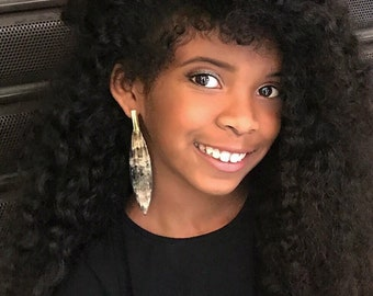 "buffalo horn earrings • long earrings ""Carnelian"" smart black polished Horn • Fairtrade • Œuvres Carita •issus Haiti"