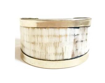 Ethnic Beige and Metal rhodium • humanitarian • sale Horn Cuff Bracelet