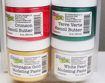 STENCIL BUTTER COLLECTION, 4 pack, Holiday Pack, The Crafters Workshop , Stencil Paste and paint with free shipping