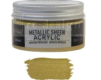 Metallic Sheen GOLDENROD from Prima Redesign, metallic paint for  stencils, furniture, painting, mixed media, and paper. free shipping