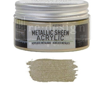 Metallic Sheen BRUSHED CHAMPAGNE from Prima Redesign, metallic paint for  stencils, furniture, mixed media, and paper. free shipping