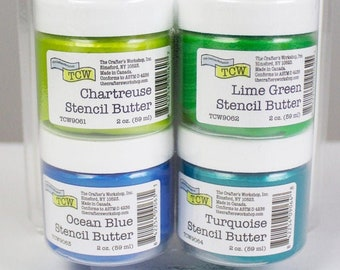 STENCIL BUTTER COLLECTION, 4 pack, Caribbean Sea Pack, The Crafters Workshop , Stencil Paste and paint with free shipping