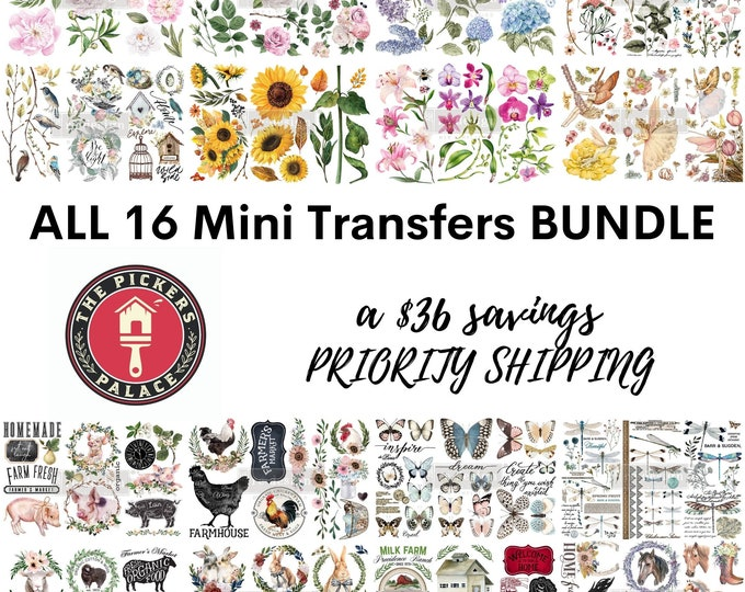 All 16 New Small ReDesign Transfers: BUNDLE with Priority Shipping,  12 x 6 transfers