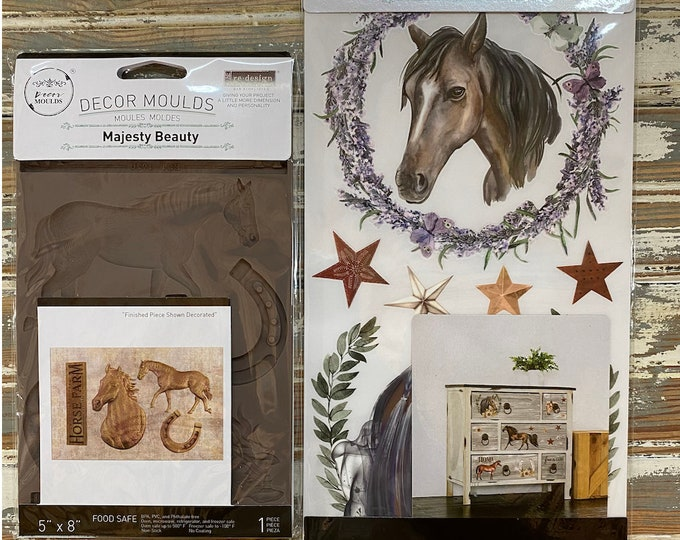 The HORSE LOVERS  bundle: New Redesign Horse Mold and Wild Soul Horse Transfers in one awesome deal with Free shipping