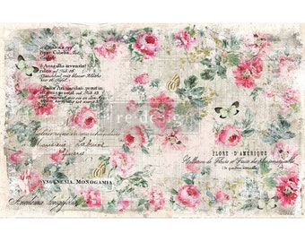 "New Decoupage Mulberry Decor Tissue Paper FLORAL WALLPAPER Free Shipping  19"" x 30"" Re-Design with Prima"