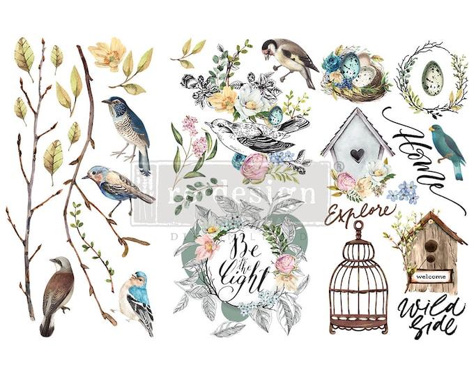 Garden Marvels Small ReDesign Transfers, Birdcage transfer, Birds,  flowers, FREE Shipping,  12 x 6 transfers