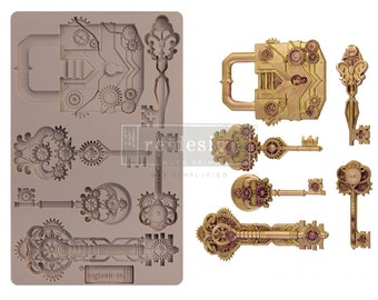 Mechanical Lock and Key Silicone Mold,  FREE SHIPPING Redesign with Prima Decor , Steampunk , 5 x 8 Silicone Mold