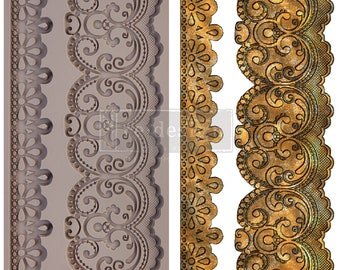 CECE Border Lace Mold, FREE SHIPPING, lace mold , border mold, Redesign with Prima Decor  , 5 x 8 Silicone Mold
