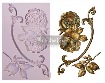 VICTORIAN ROSE Resin, Clay and Culinary Mold with  Free Shipping from Redesign   5 x 8 Silicone Mould