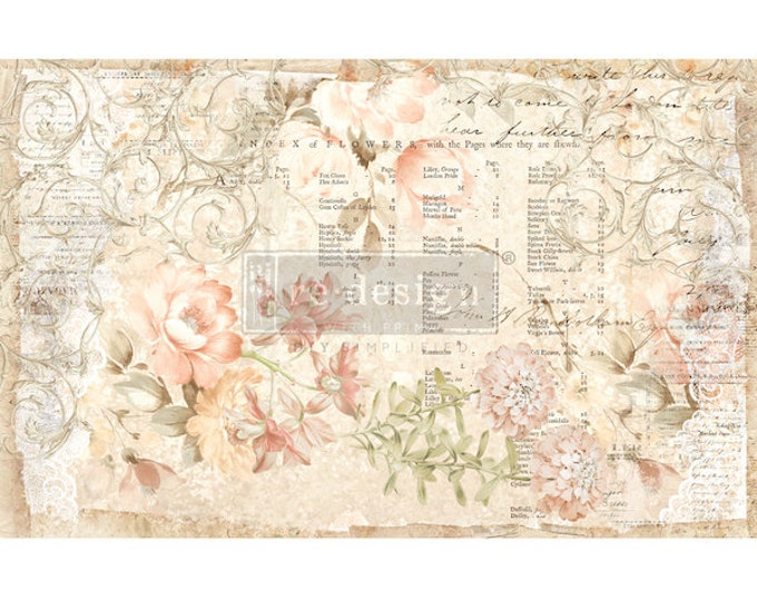 """Prima  Decoupage Mulberry Decor Tissue Paper FLORAL PARCHMENT  Free Shipping  19"""" x 30"""" Re-Design with Prima"""