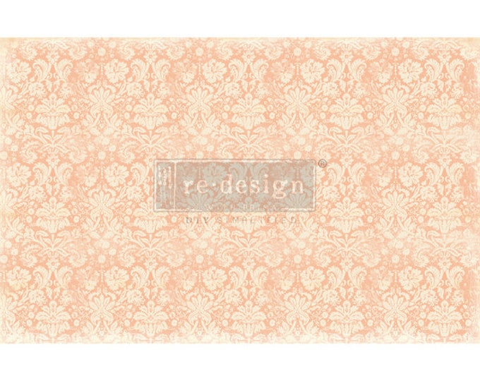 "New Decoupage Mulberry Decor Tissue Paper PEACH DAMASK Free Shipping  19"" x 30"" Re-Design with Prima"