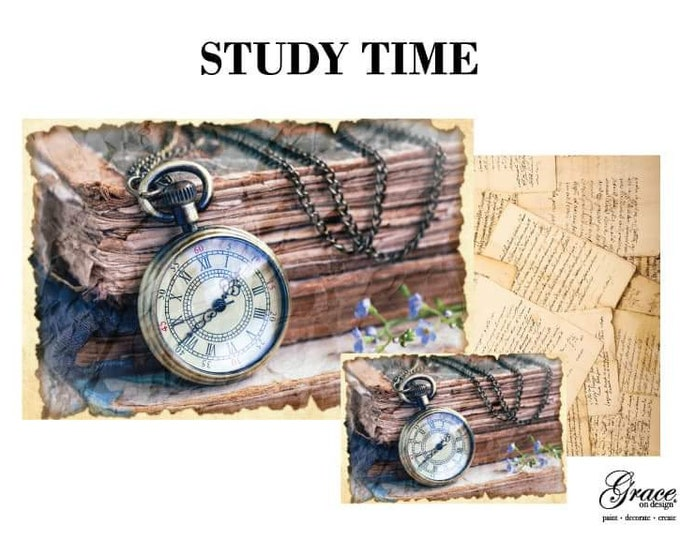 Pre Order STUDY TIME Grace on Design  Decoupage Pack, 3 sheets , Free Shipping