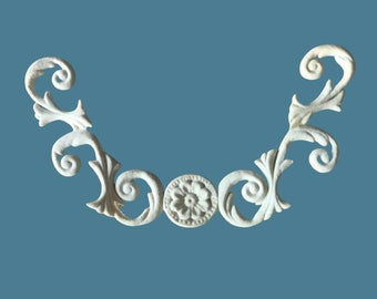 T43 Flower and Wheat Trim, EFEX, Replacement Moulding, Historic Moulding, Silicone Moulding, Embellishment  , Made In USA, Free Shipping