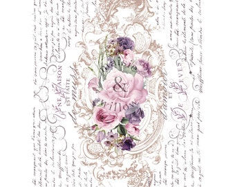 FLORAL POEM Transfer, Rub on Furniture Decor Transfer, Maise & Willow Prima Transfers, Redesign Transfer with Free shipping