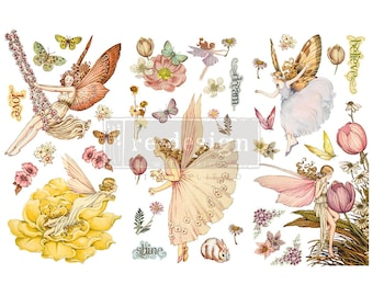 """Affordable transfers! Fairy Flowers Rub on Furniture and Decor Transfer 12"""" X 6"""" with FREE Shipping"""
