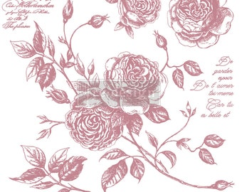 """ROMANCE ROSES Clearly Aligned Decor Stamp, Prima Redesign Stamp, Furniture , Mixed Media, Walls, Free Shipping, 12""""x12"""""""