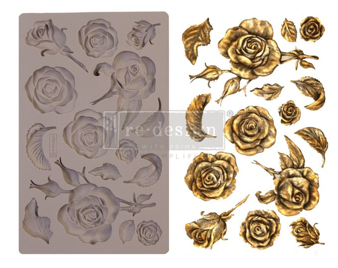 Fragrant Roses FREE SHIPPING Redesign with Prima Decor Moulds , Silicone Mold,  Resin Mold, 5 x 8 Silicone Mold