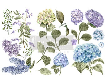 """Affordable transfers! Mystic Hydrangeas Transfer Collection 12"""" X 6"""" with FREE Shipping"""
