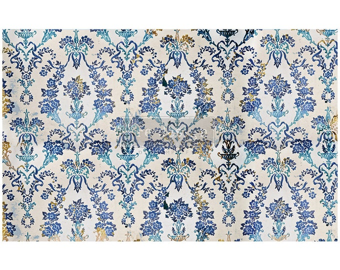 "NEW COBALT FLOURISH Prima Decoupage Mulberry Tissue Paper,  Free Shipping  19"" x 30"" Re-Design with Prima"