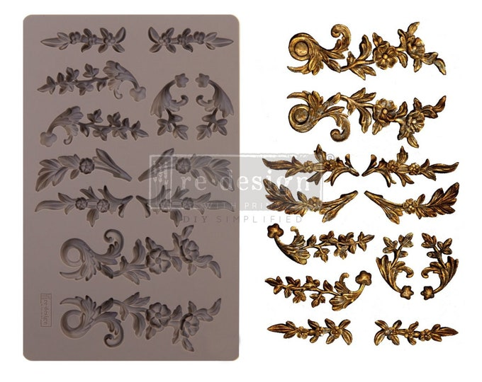 Delicate Flora FREE SHIPPING Redesign with Prima Decor Moulds , Silicone Mold,  Resin Mold, 5 x 8 Silicone Mold