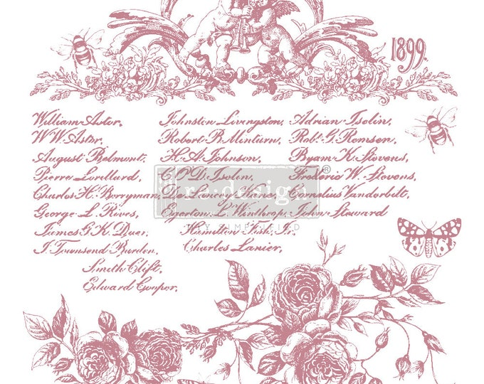 """FLORAL SCRIPT Clearly Aligned Decor Stamp, Prima Redesign Stamp, Free Shipping, 12""""x12"""""""