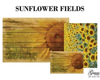 SUNFLOWER FIELDS Decoupage Pack, 3 sheets , Free Shipping