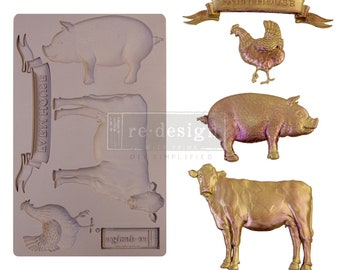 Farm Animal Mold, FREE SHIPPING , Cow, Chicken, Rooster, Pig Mold, Redesign with Prima Decor  , 5 x 8 Silicone Mold