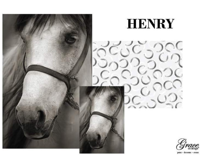 Pre Order HENRY, Horse Decoupage, Grace on Design Decoupage Pack, 3 sheets , Free Shipping, Horses, Horse