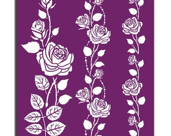 Roses Collection: All 3 designs in a reusable stencils, New Dixie Belle Silk Screened Stencils,  free shipping