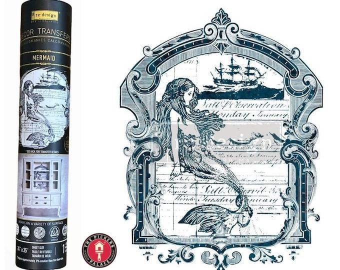 MERMAID TRANSFER is BACK!  Mermaid Design Rub on Transfer,  Ocean Transfer ,Redesign Transfer, Free shipping,