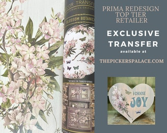 Blossom Botanica, Rub on Transfer, Exclusive Prima Transfers, Redesign Transfer, Free USA shipping, Prima Top Tier, International Shipping