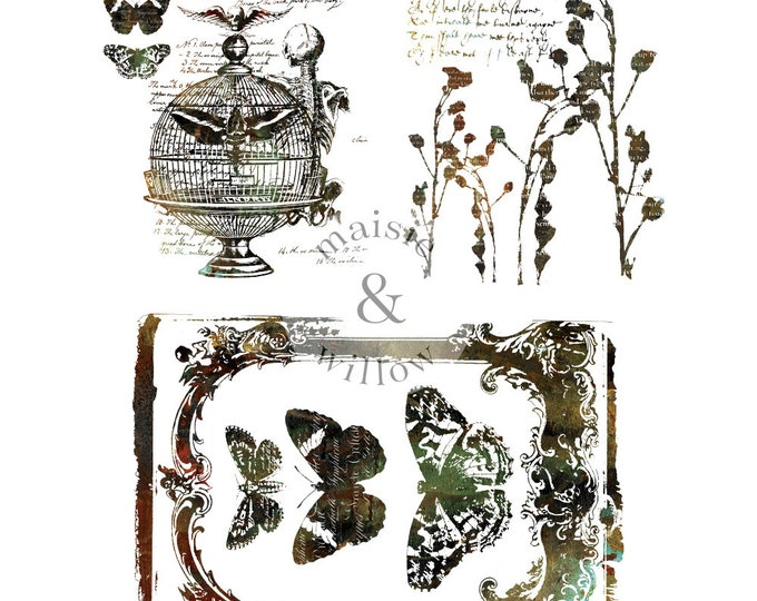 MAISIE & WILLOW, Steampunk 2, rub on transfer, Prima Transfers, Redesign Transfer, Free shipping