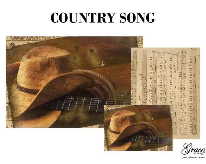 COUNTRY SONG Decoupage Pack, 3 sheets , Free Shipping