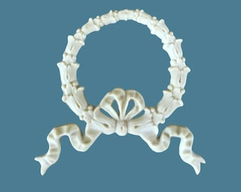 B7 Wreath Bow with French Ribbons, EFEX , Replacement Moulding, Historic Moulding, Silicone Moulding, Embellishment  , FREE SHIPPING