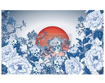 "CECE Skull Chinoiserie Prima Decoupage Mulberry Tissue Paper,  Free Shipping  19"" x 30"" Re-Design with Prima"